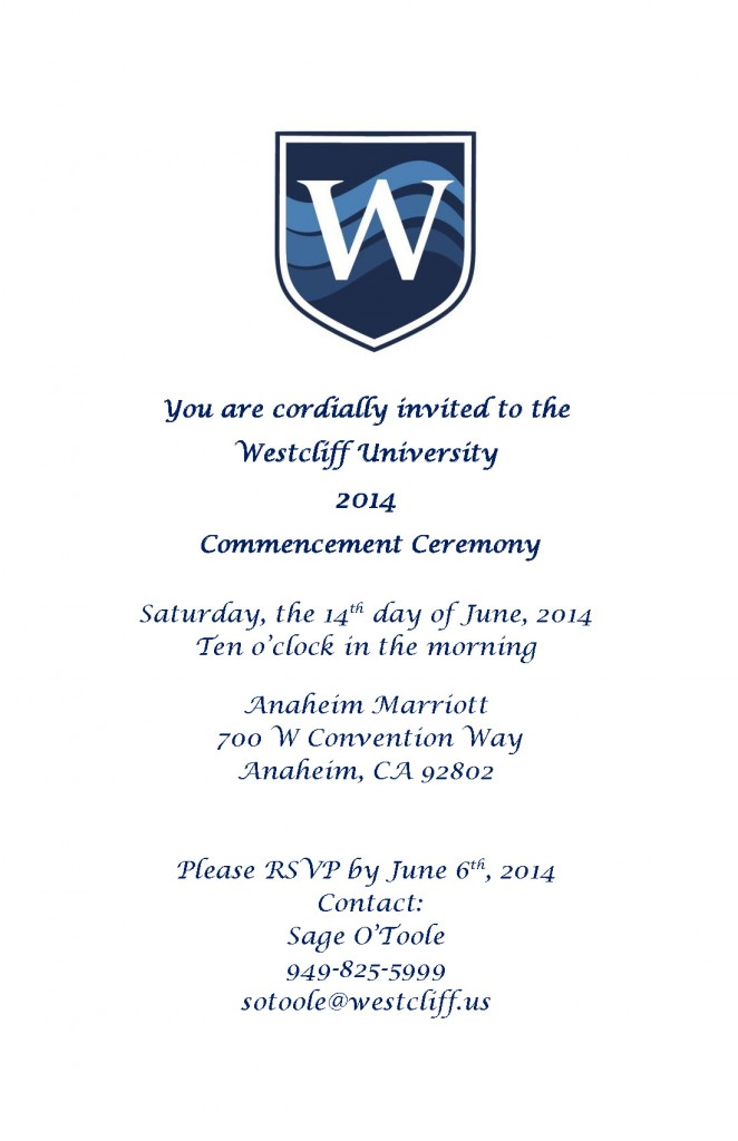2014 Westcliff University Commencement Invitation