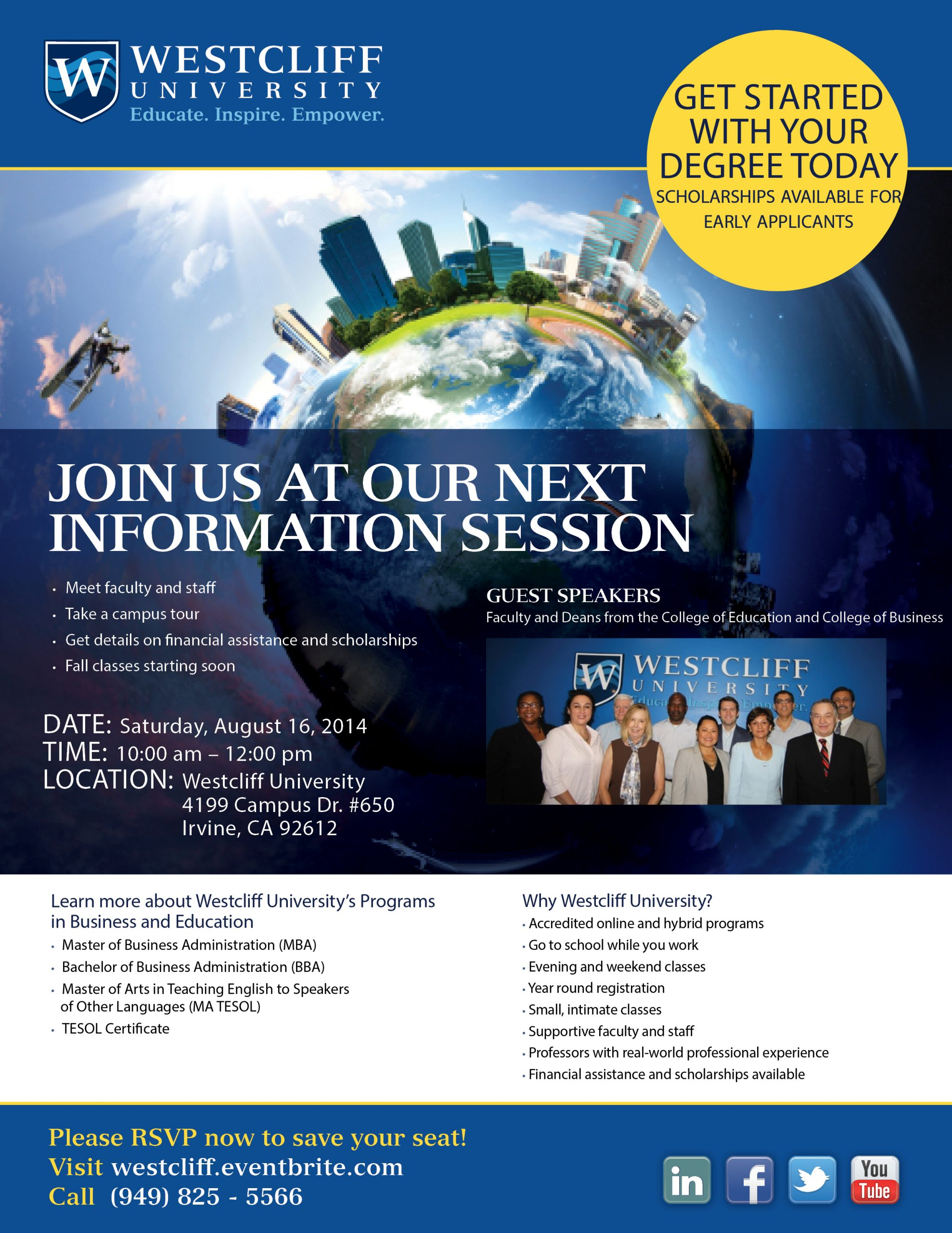 Fall 2014 Information Session on Saturday, 8/16/14 10AM-12PM
