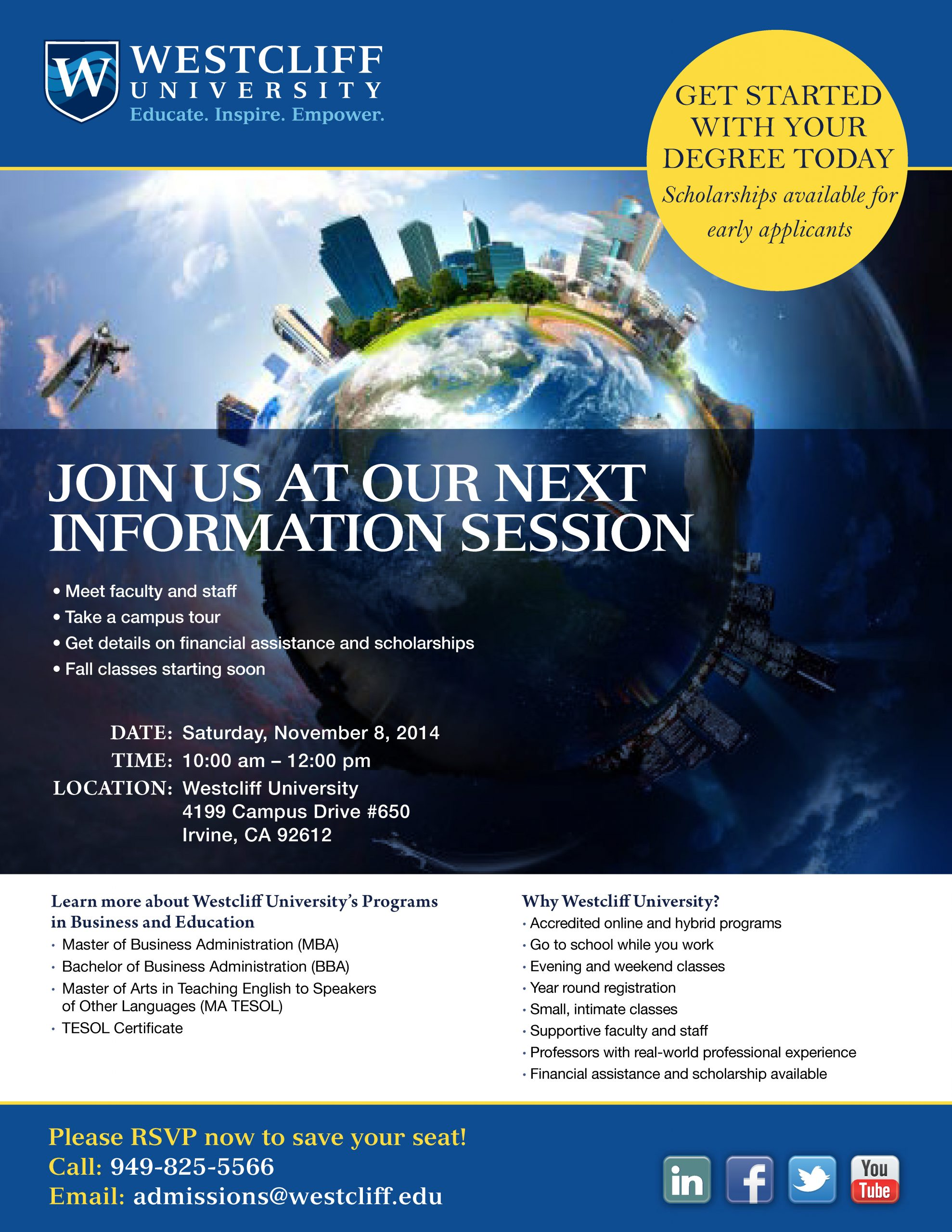Information Session on Saturday, 11/08/14 10AM-12PM