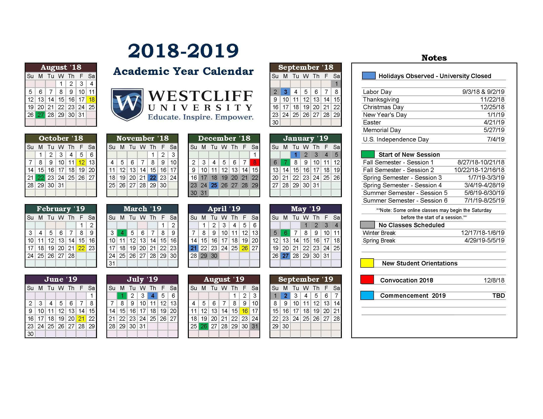 bb2b9956af288f Academic Year Calendar - Westcliff University