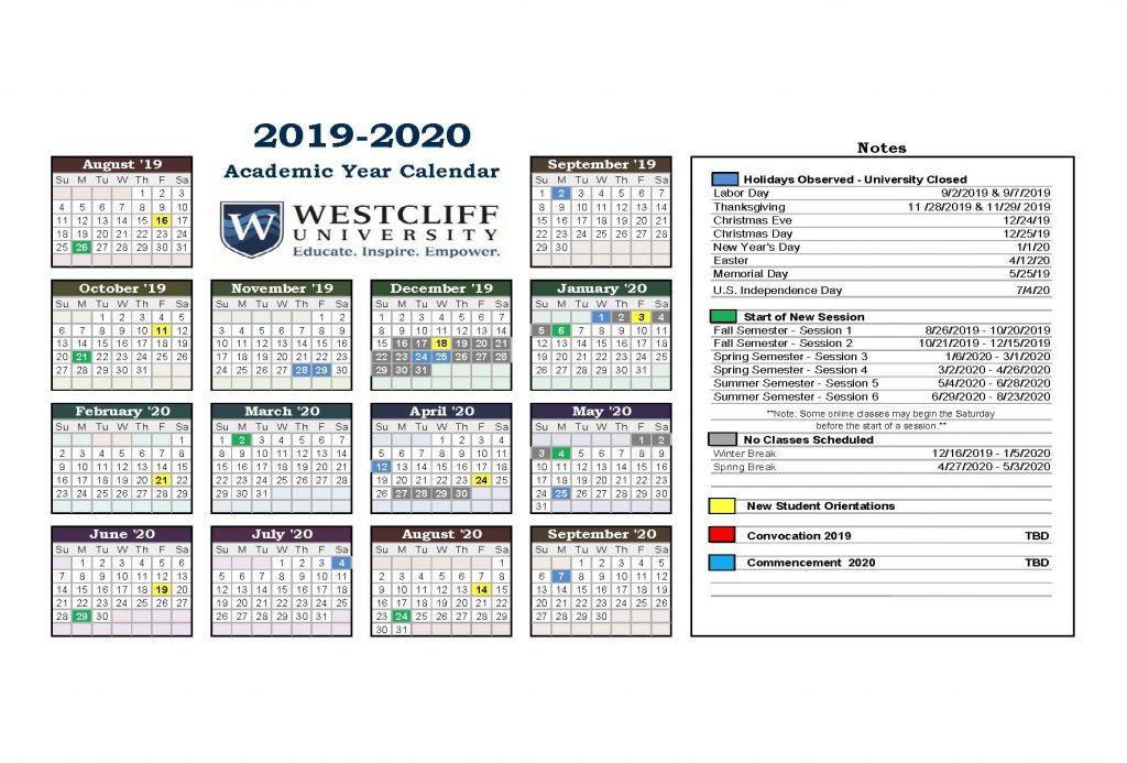 January 14, 2020 Carlsbad Calendar Academic Year Calendar   Westcliff University