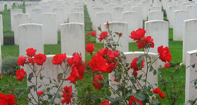 Memorial Day Image of Tombstones in graveyard
