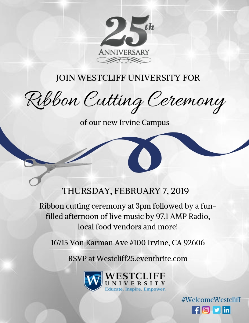 Join Westcliff University for the Ribbon Cutting Ceremony of our new Irvine Campus