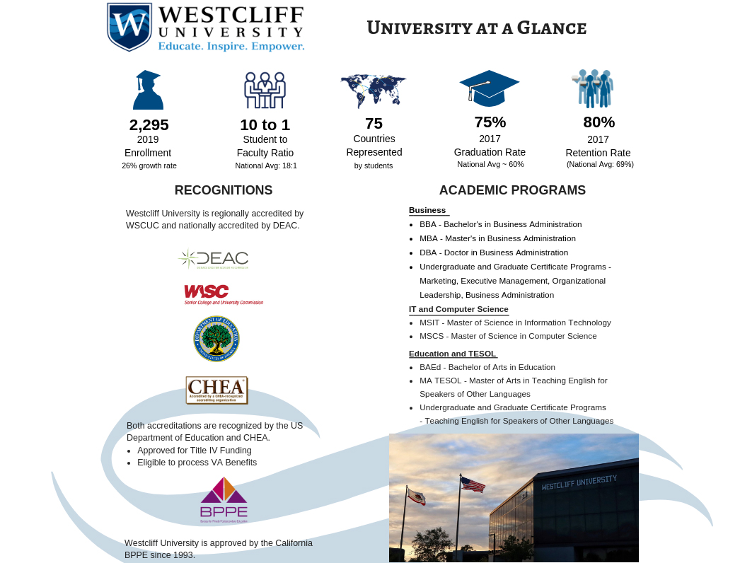 Westcliff University - Get your MBA, Business Degree or TESOL today!