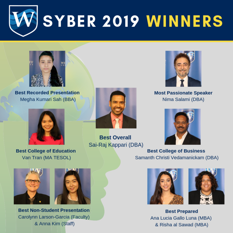 Image with headshots of each Syber 2019 Winner