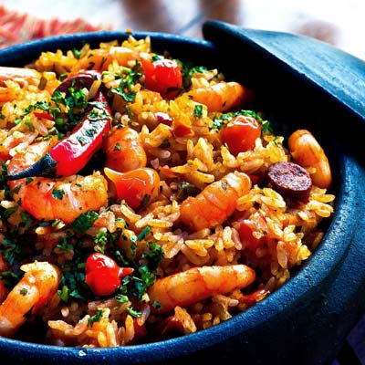 Dish of rice, peppers and shirmp