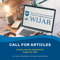 this is an image for the westcliff institutional journal of applied research as a reminder to submit journals and articles