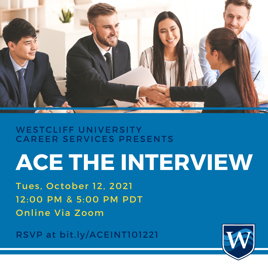 This is the banner/title image for Westcliff University Career Services Ace the Interview event