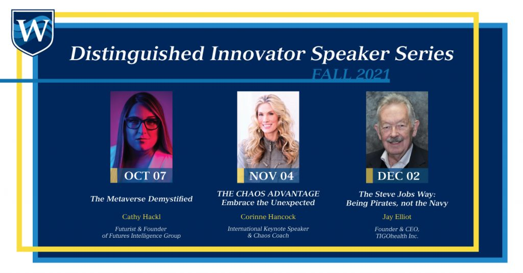 this is a graphic image of Westcliff University's Fall 2021 Distinguished Innovator Speaker Series